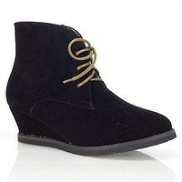 Valencia01 By Bumper, Lace Up Ankle Bootie Hidden Wedge Western Cowboy Wing Tip