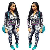 2017 Fashion Spring Floral 2 Piece Set Women Tracksuit Short Crop Tops Casual Sexy Women Suits Long Sleeve Two Piece Outfits
