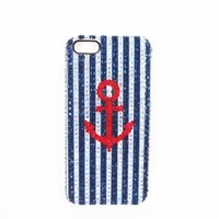 Blue and White Rhinestone Stripe Navy Style Anchor Handmade Case for iPhone 4/4S Blue 002
