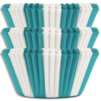 Turquoise Circus Stripe Baking Cups