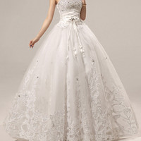 Exquisite Strapless Sequins and Appliques Design Women's Bowknot Lace Up Wedding Dress