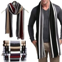 Striped Scarf Men Shawls Wrap Knitted Fashion Casual Business Scarf