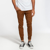 Well Versed Solid Mens Jogger Pants Tobacco  In Sizes