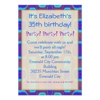 Party! Party! Party! Birthday Abstract Blue Purple Card