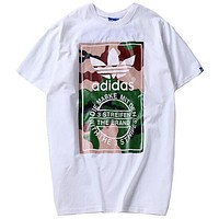 Adidas 2019 new men's camouflage casual sports short-sleeved T-shirt white