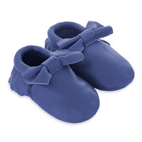 Baby Bow Leather Moccasins Blue Crush