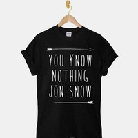 You Know Nothing Jon Snow DTG ScreenPrint 100% pre-shrunk cotton for t shirt mens and t shirt woman at kahitna