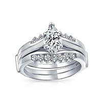 2.5CT Solitaire Marquise CZ Engagement Ring Set 925 Sterling Silver