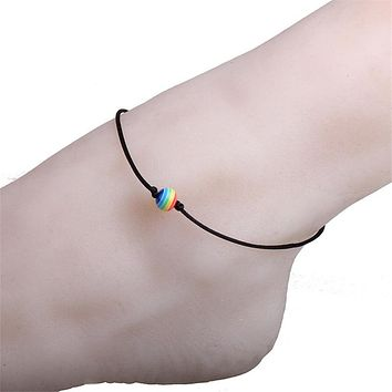 AAK001, Beach Thin String Rainbow Resin Beads Lesbian LGBT Pride Gay Pride Woven Braided Rope Strand Friendship Couple Anklets