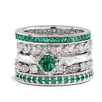 SS Stackable Expressions Emerald Paradise Ring Set Size 10