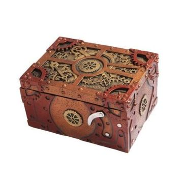 Steampunk Clockwork Mechanical Jewelry Keepsake Box Figurine Statue 7.5L