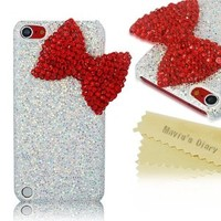 Mavis's Diary New 3d Handmade Luxury Crystal Bow Bling White Case Cover Hard for Ipod Touch 5 5th Generation with Soft Clean Cloth (Red)