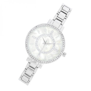 Classic Silver Metal Watch With Crystals