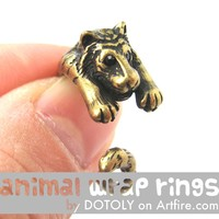 Realistic Tiger Animal Wrap Around Ring in Brass - Sizes 4 to 9 Available