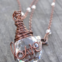 Copper LOVE Wire Wrap Crystal Ring Necklace Wire Writing Pendant with removable handmade Ring