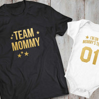 Team mommy I'm on mommy's team matching shirts, mother daughter matching T-shirts, mother daughter, team mommy, mommy's team, UNISEX