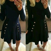 VONEFC2 Navy Blue Plain Draped A-line Buttons Double Breasted Elegant Cute Mini Dress
