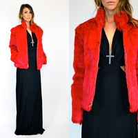 rare CRIMSON red avant garde genuine RABBIT fur boho rocker COAT, extra small-extra large