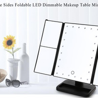 Angle Adjustable LED Makeup Mirror Three Sides Foldable LED Dimmable Makeup Table Decorative Compact Mirror