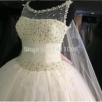 9079 2015 New Custom Made Real Sample Tulle With Pearls Open Back Ball Gown Wedding Dresses Bridal Gowns Size 2 4 6 8 10 12 14