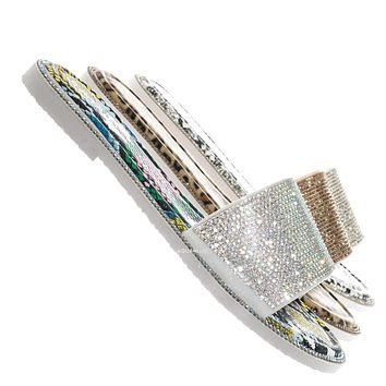 Share01 Jelly Rhinestone Crystal Slipper - Animal Print Clear Lucite Sandal