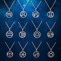 Zodiac Stainless Steel Necklaces Pendants Fashion 18K Gold Plated Rose Gold
