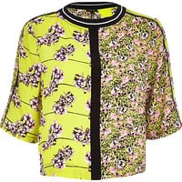 River Island Womens Lime green floral boxy fit t-shirt