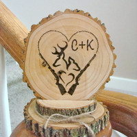 Rustic Wedding Cake Topper Personalized Wood Deer Couple Hunter Heart Rifle Country Wedding