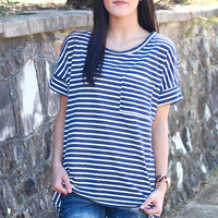 Basic Striped Pocket Tee {Navy}