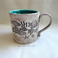 Fish Pottery Mug, Ceramic Coffee Mug, Large Tea Cup, Seafoam Green, Ocean Blue