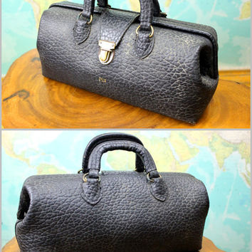 Antique Black Leather Doctor Bag Dr House Call Small Size Vintage Zyla Goth Steampunk Purse