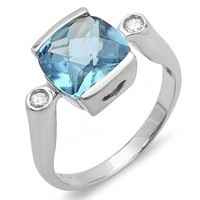 1.35 Carat (ctw) Sterling Silver Cushion & Round Blue And White CZ Ladies Engagement Ring (Size 6)