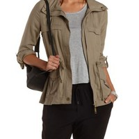 Light Taupe Drawstring Anorak Jacket by Charlotte Russe