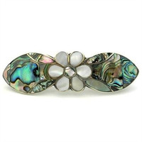 Mother of Pearl and Abalone Daisy Hair Barrette