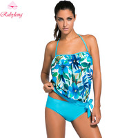 Womens Halter Two-Piece Suits Swimsuits Ladies Retro Printing Tankini Set Female Strappy Push Up Swimwear Swimsuit Plus Size