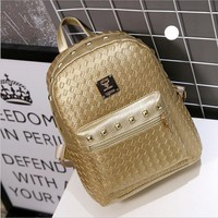 2016 High PU Leather Women Backpack with Knitting Rivet Japan Korean Style Rucksack Teenager Girl Hand-made Bags