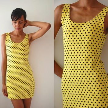 Vtg Polka Dots Yellow Black Body Con Sleeveless Cotton Dress