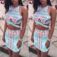 SEXY Women Bodycon Bandage Crop Tops and Skirt Clubwear Party Dress 2pcs Set = 1946921860