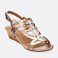 Playful Tunes Gold Leather - Womens Medium Width Shoes - Clarks