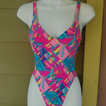 Vintage 80s Citrus High Cut Tribal Aztec Abstract Geo Print Bungee Criss Cross Strappy Back Bathing Suit Swimsuit One Piece Size XS