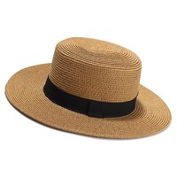 Summer Sun Hat For Women Flat Straw Hat With Gold Line Ladies Travel Beach Caps Sombreros Mujer Verano