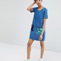 Liquor & Poker Tall | Liquor & Poker Tall Frayed Denim Shift Dress With Sequin Pockets at ASOS