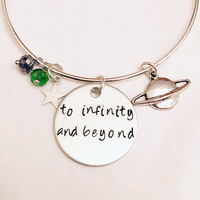 To Infinity and Beyond Buzz Lightyear Toy Story Disney Pixar Inspired Stamped Adjustable Bangle Charm Bracelet