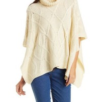 Beige Cable Knit Turtleneck Poncho Sweater by Charlotte Russe