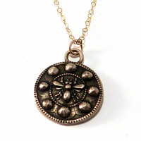 Honey Bee Antique Button Necklace - Bronze