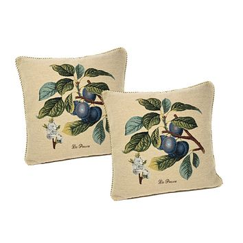 DaDa Bedding Set of Two Sugar Plum Fruit Throw Pillow Covers w/ Inserts - 2-PCS - 18""