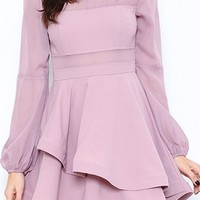 Family Pictures Lilac Purple Long Bishop Sleeve Sheer Panel Cut Out Skater Circle A Line Flare Mini Dress