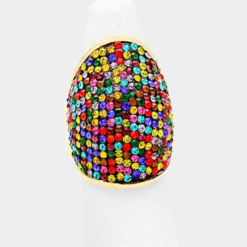 """1.25"""" multi gold stretch cocktail ring"""