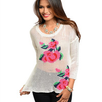 White Floral Knit Sweater