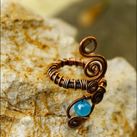 Wire ring, copper wire ring, wire wrapped ring, copper jewelry, handmade ring, swirl copper ring, organic jewelry, adjustable,